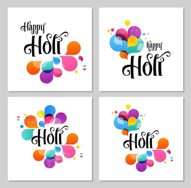 Gelukkige holi, indische vakantie en festivalaffiche, spandoek, kleurrijke vectorillustratie