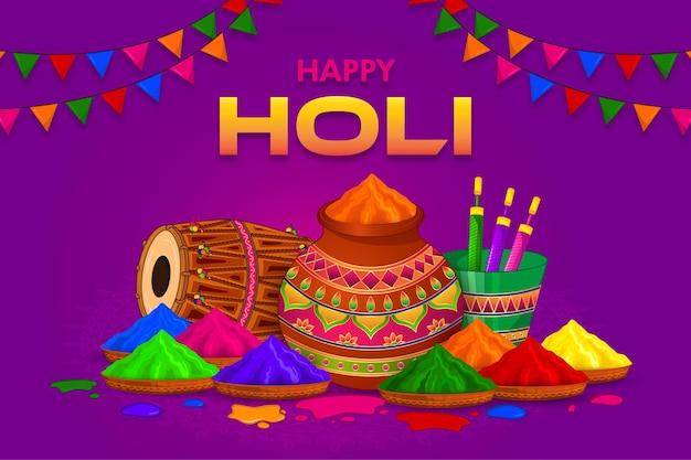 Gelukkige holi, kleurrijke groet van het festival van india
