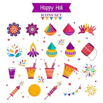 Gelukkige holi viering kleurrijke plat pictogrammen