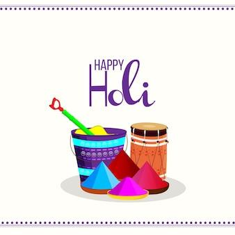 Gelukkige holi-vieringsachtergrond met realistische emmer en kleurrijke kleurenkom