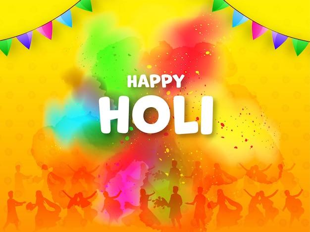 Gelukkige holi-vieringsachtergrond met silhouetmensen die kleuren spelen.