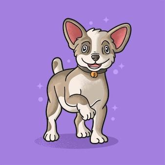 Gelukkige hond glimlachen illustratie grunge stijl