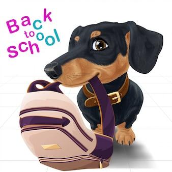 Gelukkige hond met rugzak terug naar school