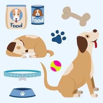 Gelukkige hond met speelgoed en voedsel