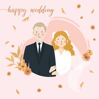 Gelukkige huwelijksgroet met schattig bruidspaar hand in hand