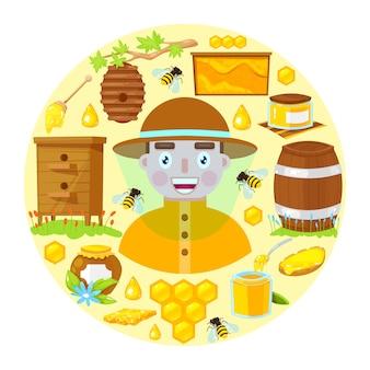 Gelukkige imker in beschermende kleding en met verschillende voorwerpen van de bijenteelt.