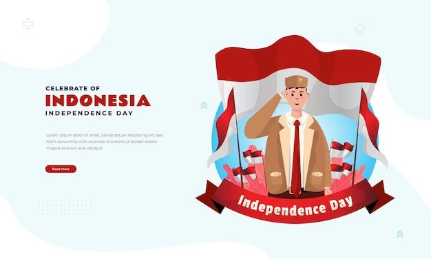 Gelukkige indonesische onafhankelijkheidsdag met jonge patriotillustratie voor bannerbegroetingspost