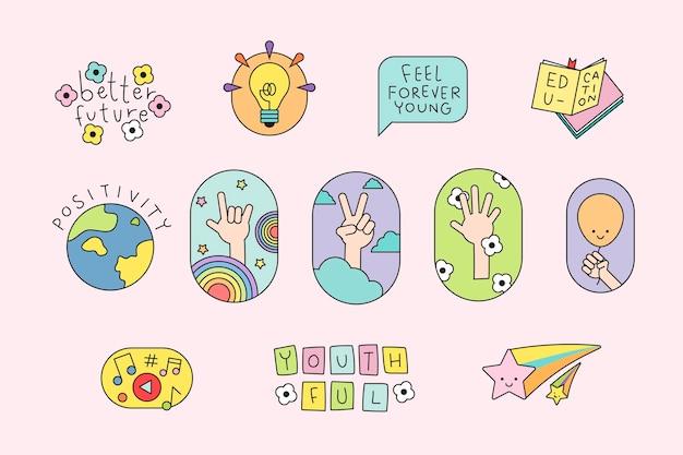 Gelukkige internationale dag van de jeugd-badges Gratis Vector