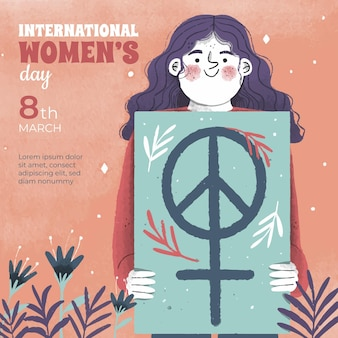 Gelukkige internationale vrouwendag hand getrokken