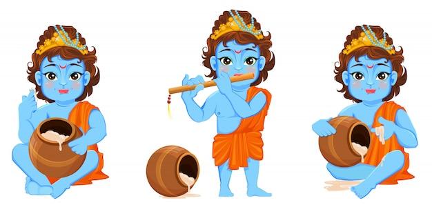 Gelukkige janmashtami. de geboorte van krishna vieren