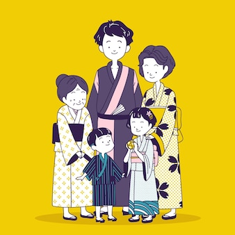 Gelukkige japanse familie die traditionele kleding draagt