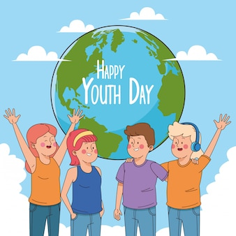 Gelukkige jeugd dag kaart met tieners cartoons