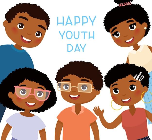 Gelukkige jeugddag. vijf afro-amerikaanse jonge vrouwen en jonge mannenvrienden. grappig stripfiguur.