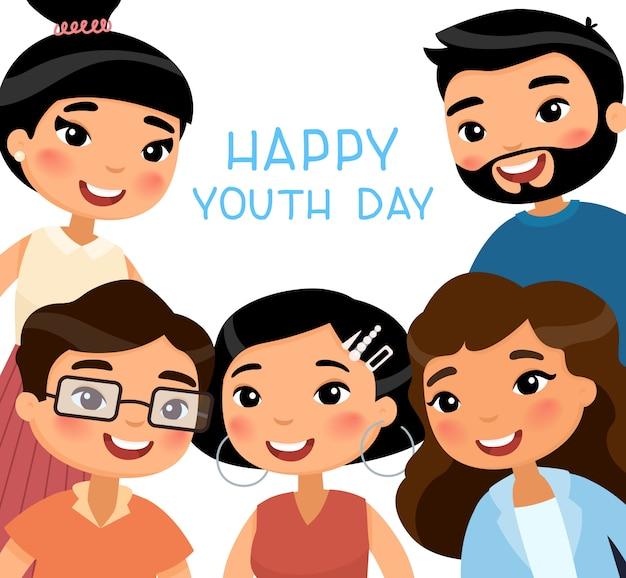 Gelukkige jeugddag. vijf aziatische jonge vrouwen en jonge mannenvrienden.