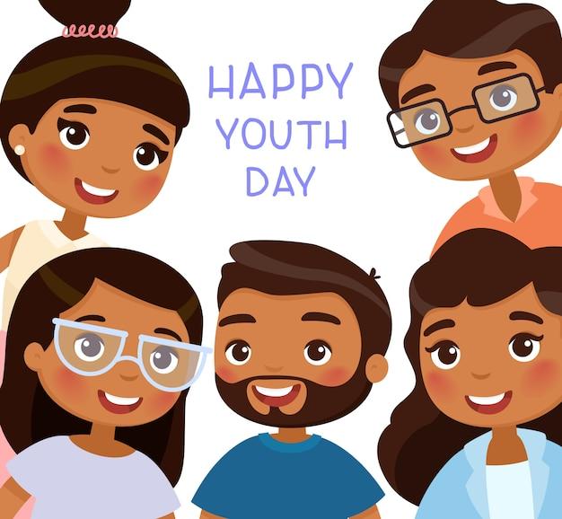 Gelukkige jeugddag. vijf hindus jonge vrouwen en jonge mannenvrienden.