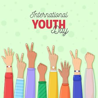 Gelukkige jeugddag wenskaart van diverse kleur handen kleurrijke jongeren groep conceptontwerp van vriendschap dag handen tot eenheid en teamwork succes helpt bedrijfsconcept