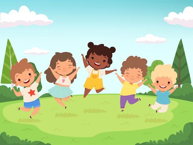 Gelukkige jonge geitjes achtergrond. grappige kinderen spelen en springende lachende tiener mensen karakters