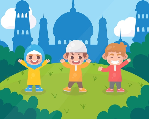 Gelukkige jonge geitjes ramadan kareem islamitische cartoon