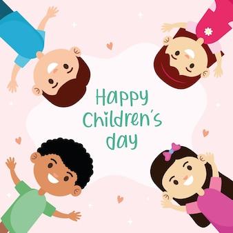 Gelukkige jonge kinderen karakters en belettering illustratie