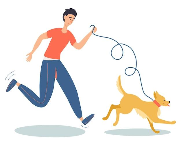 Gelukkige jonge man die met hond buiten loopt menselijke beste vrienden gezonde levensstijl huisdier