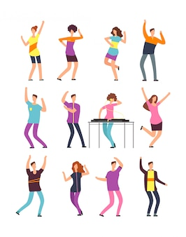 Gelukkige jonge mensen dansen. man en vrouw cartoon dansers geïsoleerd