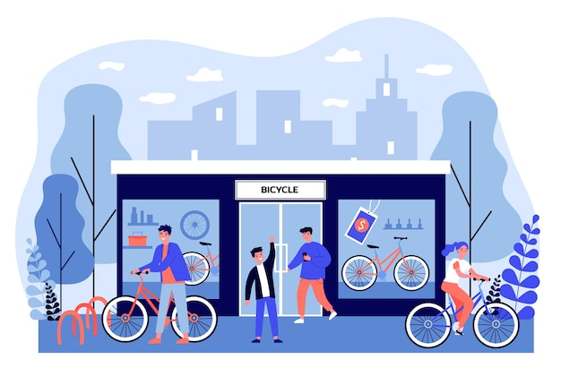Gelukkige jonge mensen die fietsen in opslag kopen. winkel, voertuig, wielillustratie. transport en stedelijk levensstijlconcept voor banner, website of bestemmingswebpagina