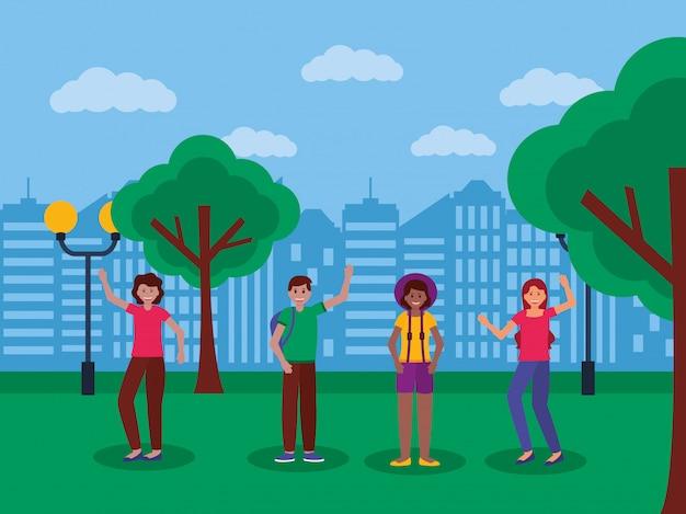 Gelukkige jonge mensen in het park