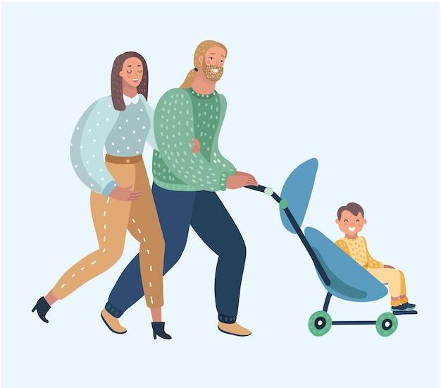 Gelukkige jonge moeder en vader met de baby in de kinderwagen