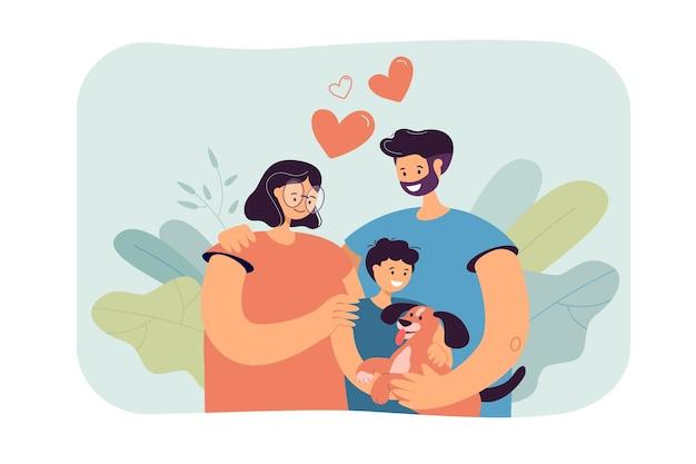 Gelukkige jonge ouders met kind en hond geïsoleerde vlakke afbeelding