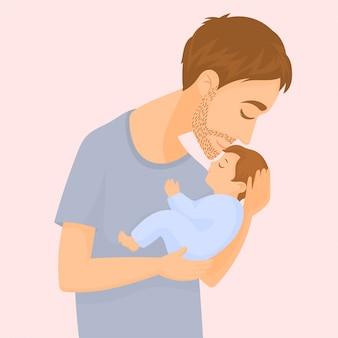 Gelukkige jonge vader die en een baby houdt kust