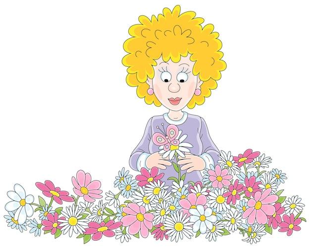 Gelukkige jonge vrouw met kleurrijke bloemen en een prachtige vlindercartoon