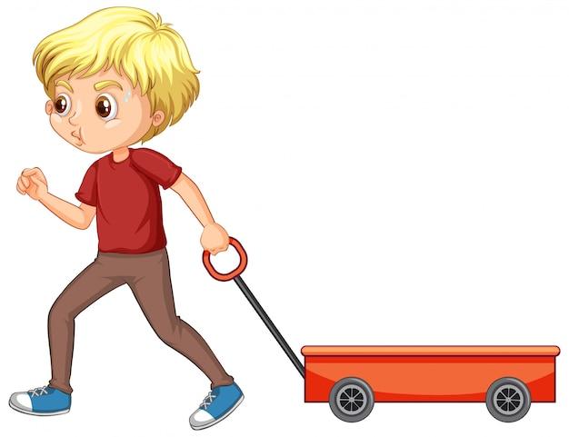 Gelukkige jongen die geïsoleerde wagen trekt
