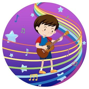 Gelukkige jongen die gitaar speelt met regenboogmelodie op blauwe en paarse achtergrond met kleurovergang