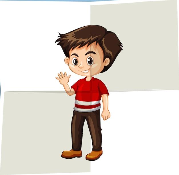 Gelukkige jongen die met de hand zwaait