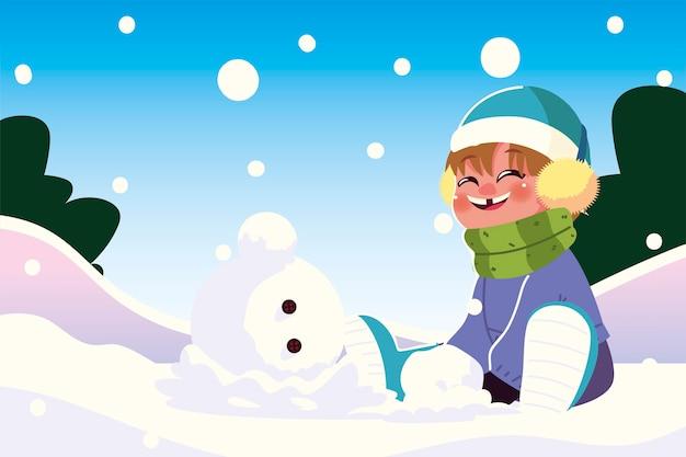 Gelukkige jongen die met warme kleren in sneeuw zit die vectorillustratie speelt