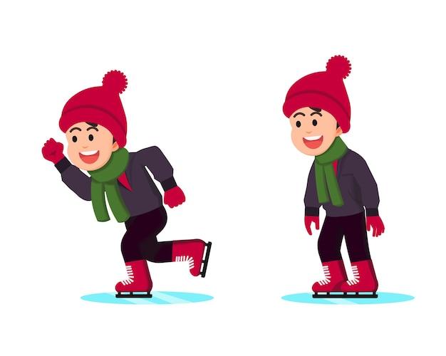 Gelukkige jongen die schaatst in winterkleren