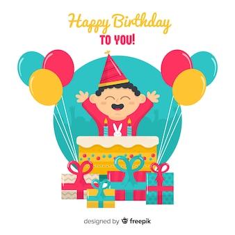 Gelukkige jongen die zijn verjaardag viert