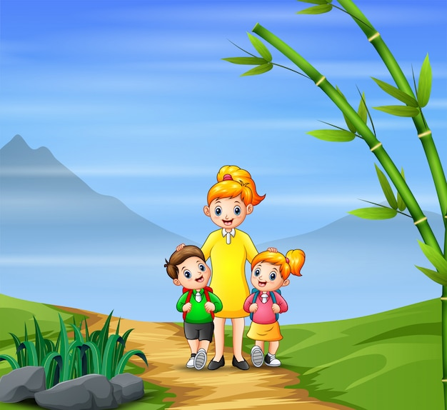 Gelukkige jongen en meisje gaan met hun moeder naar school
