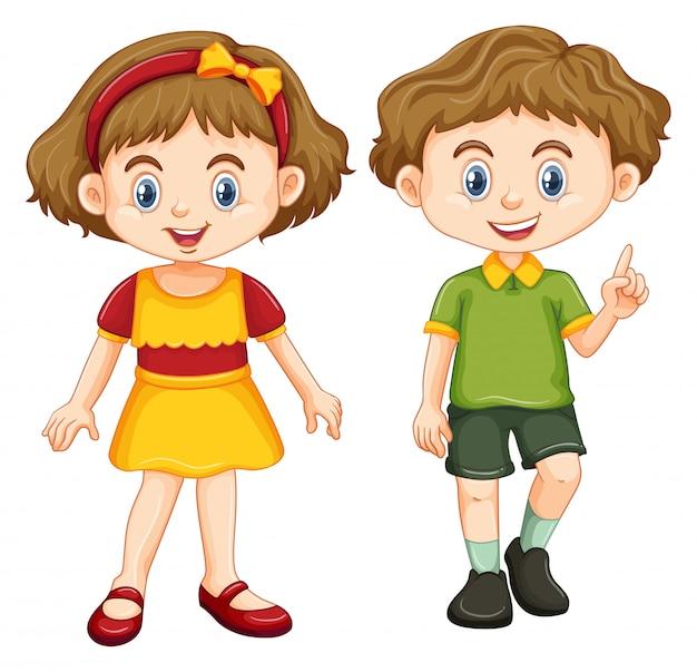 Gelukkige jongen en meisje staan