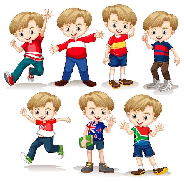 Gelukkige jongen in verschillende kostuums