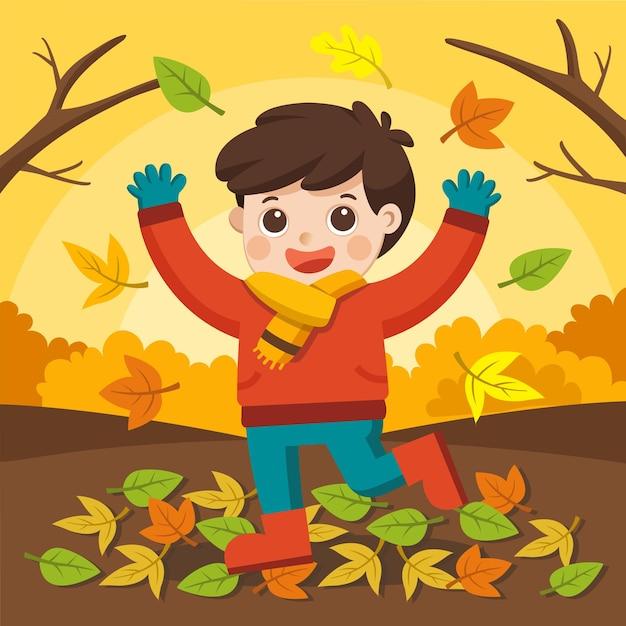 Gelukkige jongen lachen en spelen in de herfst op de natuurwandeling buiten.