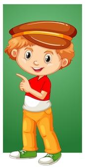 Gelukkige jongen met bruine hoed