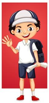Gelukkige jongen met rugzak en papier
