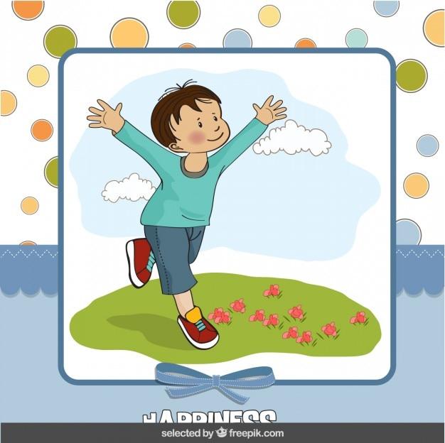 Gelukkige jongen op plakboekachtergrond
