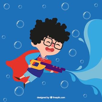 Gelukkige jongen speelt met water gun automatische waterpistool