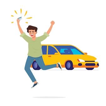 Gelukkige jongen springt en houdt zijn rijbewijskaart vast