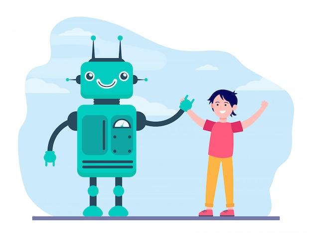 Gelukkige jongen stijgende handen met robot