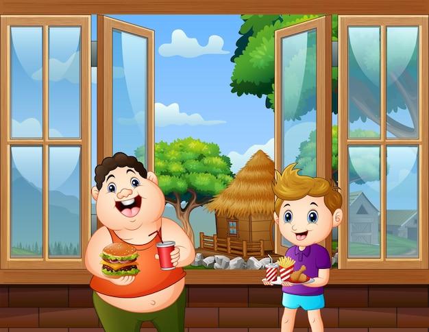 Gelukkige jongens die voedsel en drank in de kamer houden Premium Vector