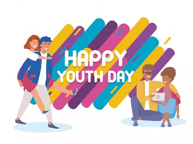 Gelukkige jongens en meisjes koppelen aan vakantie-evenement