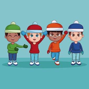 Gelukkige jongens met de winterkleren leuke cartoon